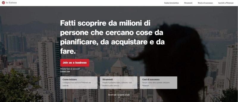 Profilo Pinterest per aziende
